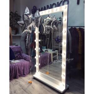 Гримерное зеркало с лампочками на подставке с колесами JenDi 180х100 см Белое