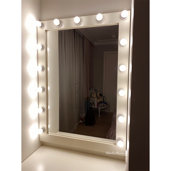 Гримерное зеркало с лампочками JenDi 115х80 Слоновая кость