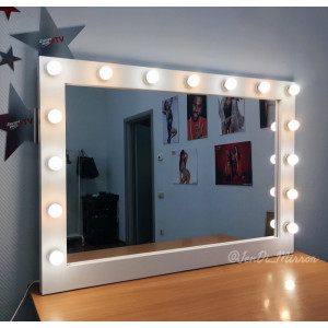 Гримерное зеркало с лампочками JenDi 130х90 Белое