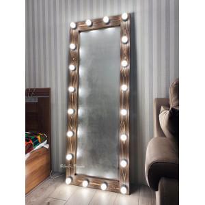 Гримерное зеркало с лампочками JenDi 170х65 Шоколад