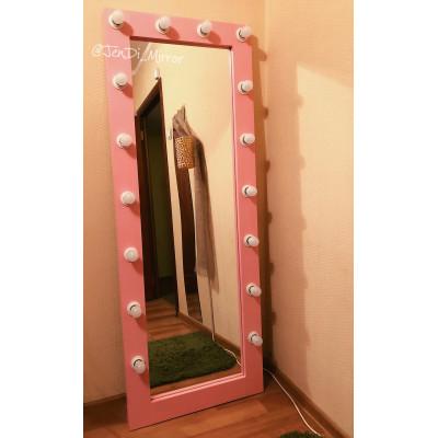 Гримерное зеркало с лампочками JenDi 170х65 розовое