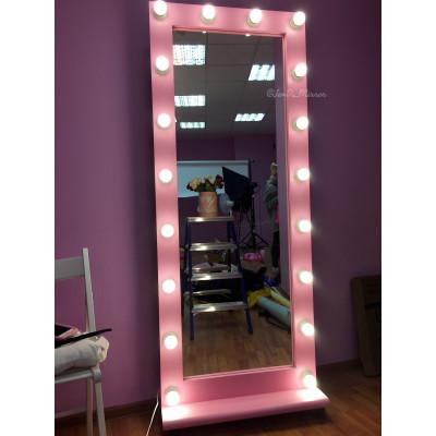 Гримерное зеркало с лампочками на подставке с колесами JenDi 170х70 см Розовое