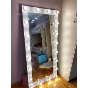 Гримерное зеркало с лампочками JenDi 170х80 см Белое