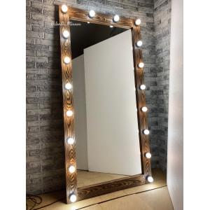 Гримерное зеркало с лампочками JenDi 180х90 Шоколад Фактурное