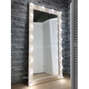 Гримерное зеркало с лампочками JenDi 180х90 Скандинавский белый