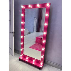 Гримерное зеркало с лампочками на подставке с колесами JenDi 180х90 см Маджента 2