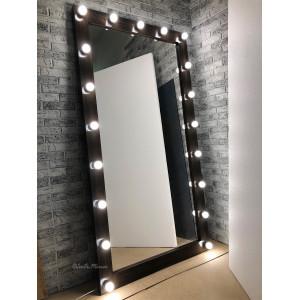 Гримерное зеркало с лампочками JenDi 190х100 см Венге
