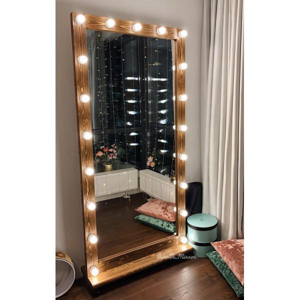 Гримерное зеркало с лампочками на подставке с колесами JenDi 200х100 см Орех