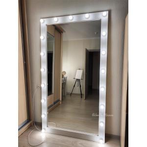 Гримерное зеркало с лампочками JenDi 200х100 Белое