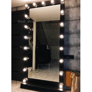 Гримерное зеркало с лампочками на подставке с колесами JenDi 200х100 Черный