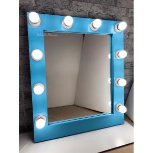 Гримерное зеркало с лампочками  JenDi 70х60 Голубой топаз