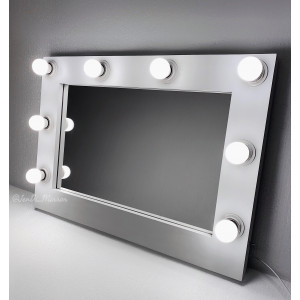 Гримерное зеркало с лампочками JenDi 70x50 Белое