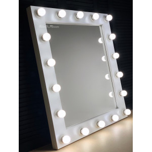 Гримерное зеркало с лампочками JenDi 100х80 Белое