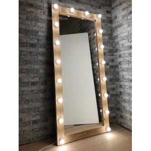 Гримерное зеркало с лампочками JenDi 180х80 Песочное