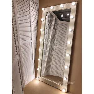 Гримерное зеркало с лампочками JenDi 180х80 см Слоновая кость