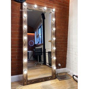 Гримерное зеркало с лампочками JenDi 180х80 Chocolate