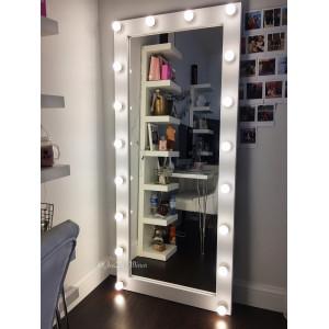Гримерное зеркало с лампочками JenDi 180х80 см White