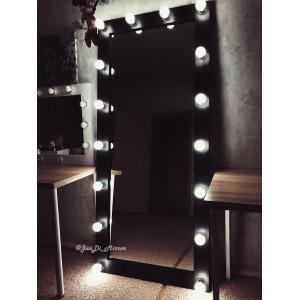Гримерное зеркало с лампочками JenDi 180х80 см Black