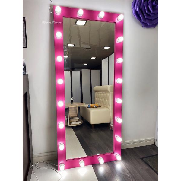 Гримерное зеркало с лампочками JenDi 180х80 Маджента