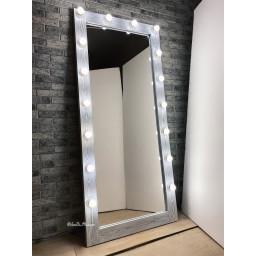 Гримерное зеркало с лампочками JenDi 180х80 Светлый Чикаго (16 ламп)