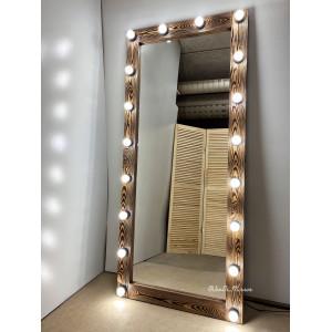 Гримерное зеркало с лампочками JenDi 180х80 см Светлый шоколад фактурное