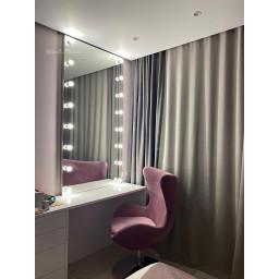 Гримерное зеркало с лампочками JenDi 180х90 Безрамное с зеркальными торцами
