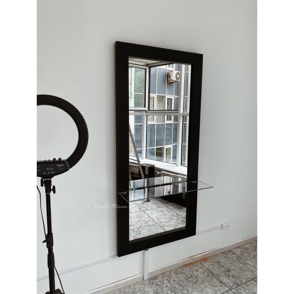 Ростовое зеркало в раме из дерева со стеклянной полкой JenDi 170х80 Черное
