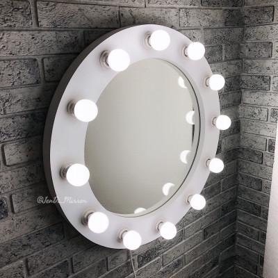 Круглое гримерное зеркало с лампочками JenDi 60см White