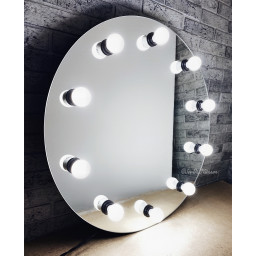 Круглое гримерное зеркало с лампочками  JenDi 70см Безрамное