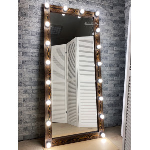 Гримерное зеркало с лампочками JenDi 180х80 см Американо Лиственница