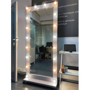 Гримерное зеркало с лампочками на подставке с колесами JenDi 180х80 см Серое