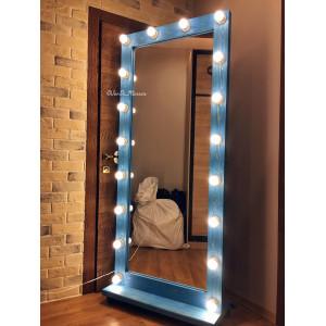 Гримерное зеркало с лампочками на подставке с колесами JenDi 180х80 см Светло-синее