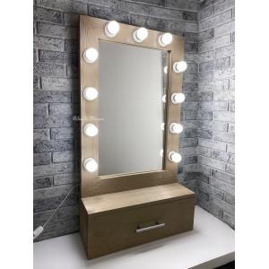 Гримерное зеркало с выдвижным ящиком JenDi 80x55 Холодный беж
